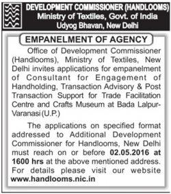 Development Commissioner Handlooms Empanelment of Agency Advertisement