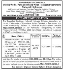 Government of Karnataka National Highways Advertisement