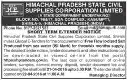Himachal Pradesh State Civil Supplies Corporation Limited Tender Ad