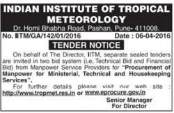 Indian Institute of Tropical Meteorology Tender Notice Ad