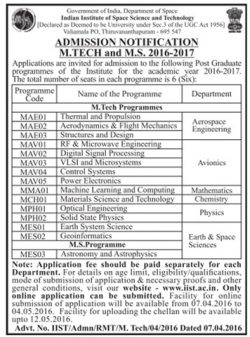 Indian Institute Space Science Technology Admission Notification 2016-17 Ad