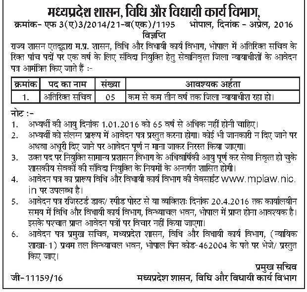 Madhya Pradesh Vidhi Vidhai Karya Vibhag Advertisement