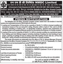 NMDC Limited Tender Notice Advertisement
