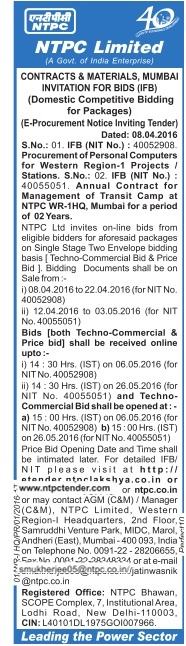 NTPC Limited Tender Notice Advertisement
