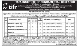 Tata Institute of Fundamental Research Tender Notice Ad