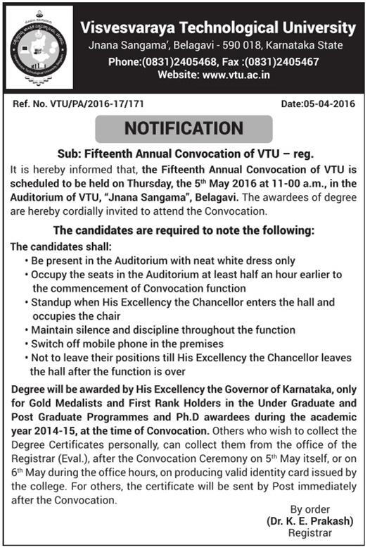 Visvesvaraya Technological University Notification Advertisement