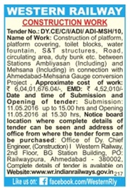 Western Railway Construction Work Tender Advertisement