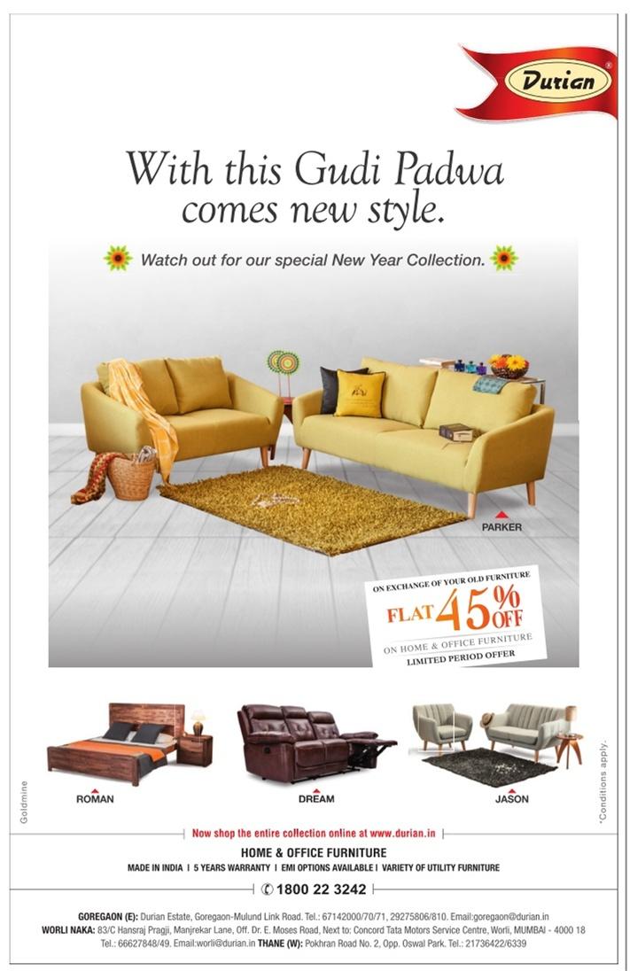 Exceptional Durian Furniture Advertisement In TOI Mumbai