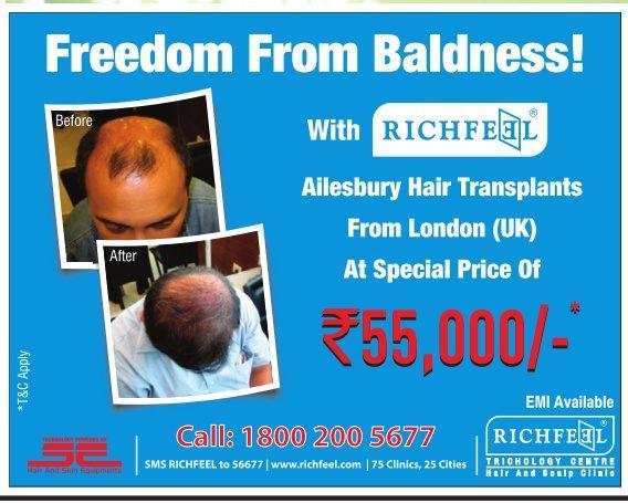 Richfeel Trichology Center Advertisement in TOI Mumbai