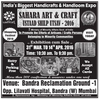 Sahara Art Craft Ad in TOI Mumbai on 8-4-2016