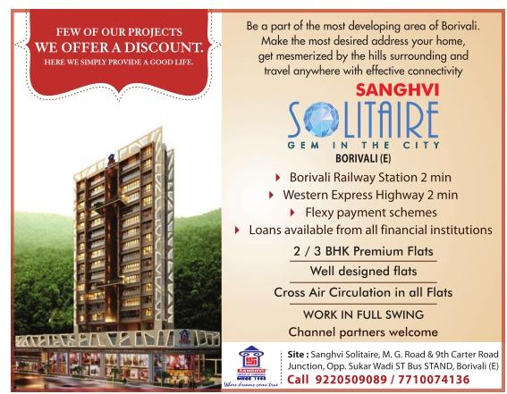 Sanghvi Solitaire Advertisement in TOI Mumbai