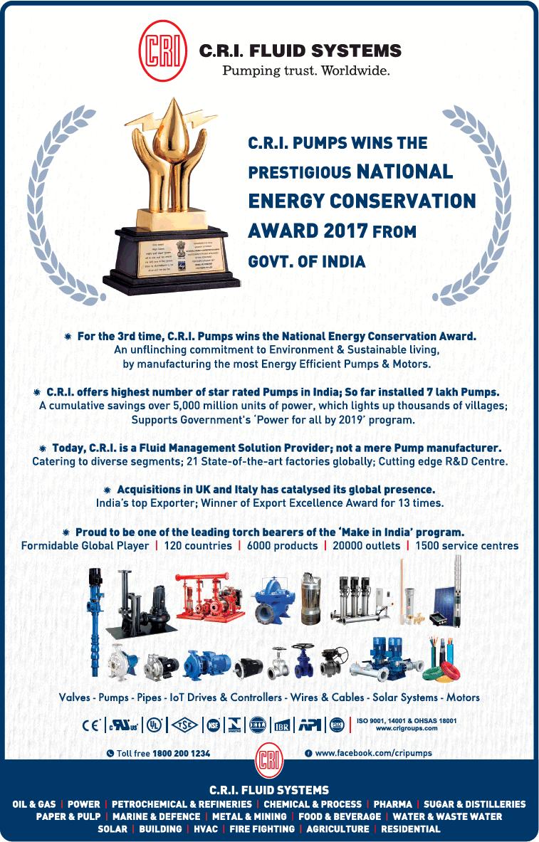 C R I Fluid Systems Cri Pumps Mins The Prestigious National Energy Conservation Award 2017 Ad
