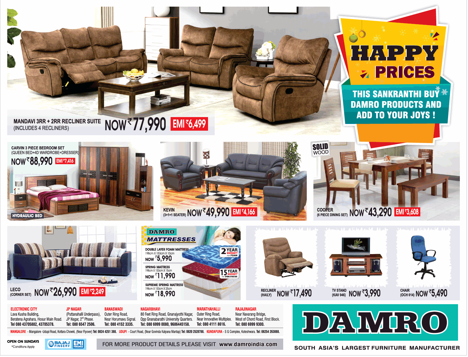 Damro Furniture Happy Prices This Sankranthi Buy Damro Products And Add To Your Joys Ad Advert