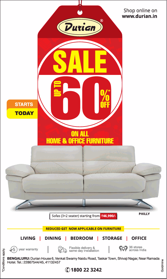 Durian furniture sale upto 60 starts today ad advert for Furniture sales today