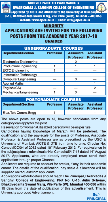 Dwarkadas J Sanghvi College Of Engineering Requires Electronics Engineering Ad