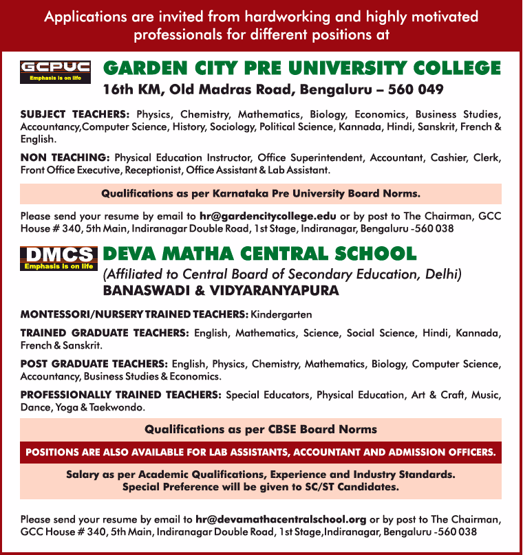 Garden City Pre University College And Deva Matha Central Schools Requires Teaching And Non Teaching Positions Ad