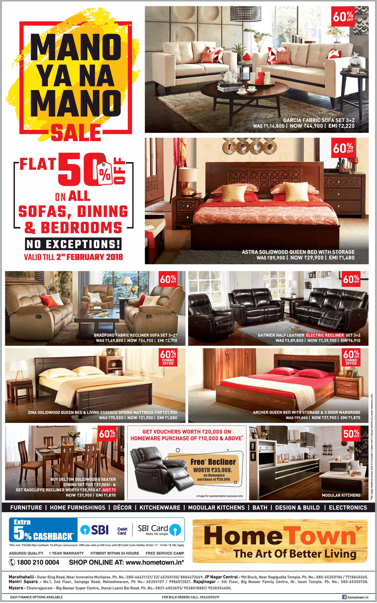 Hometown Furniture Mano Ya Na Mano Sale Flat 50 Off On All Sofas Ad