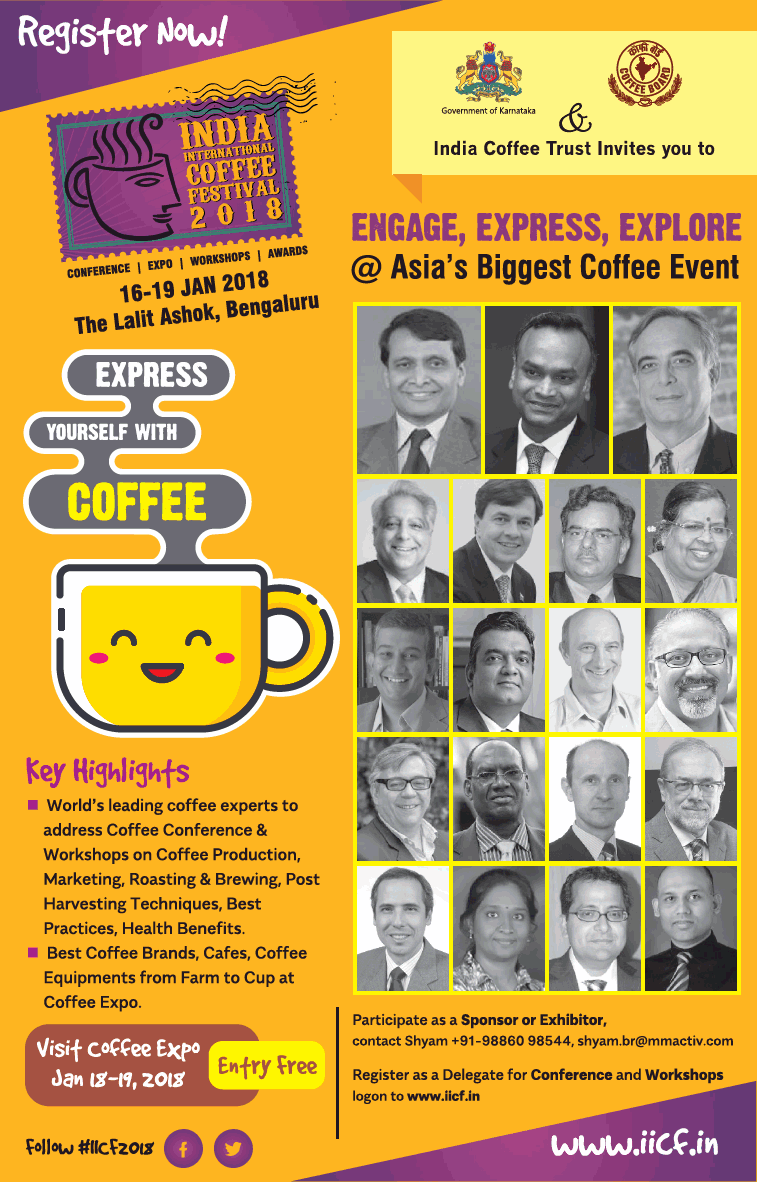 India International Coffee Festival 2018 Conference Expo Workshops Awards Ad