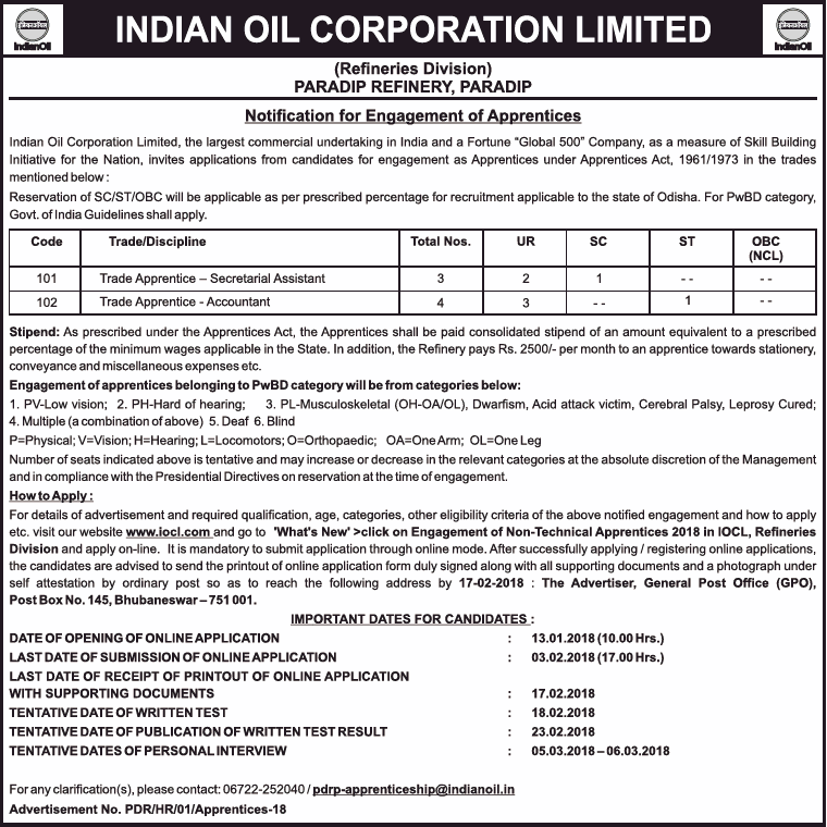 India Oil Corporation Limited Invites Applciations For Trade Apprentice Ad