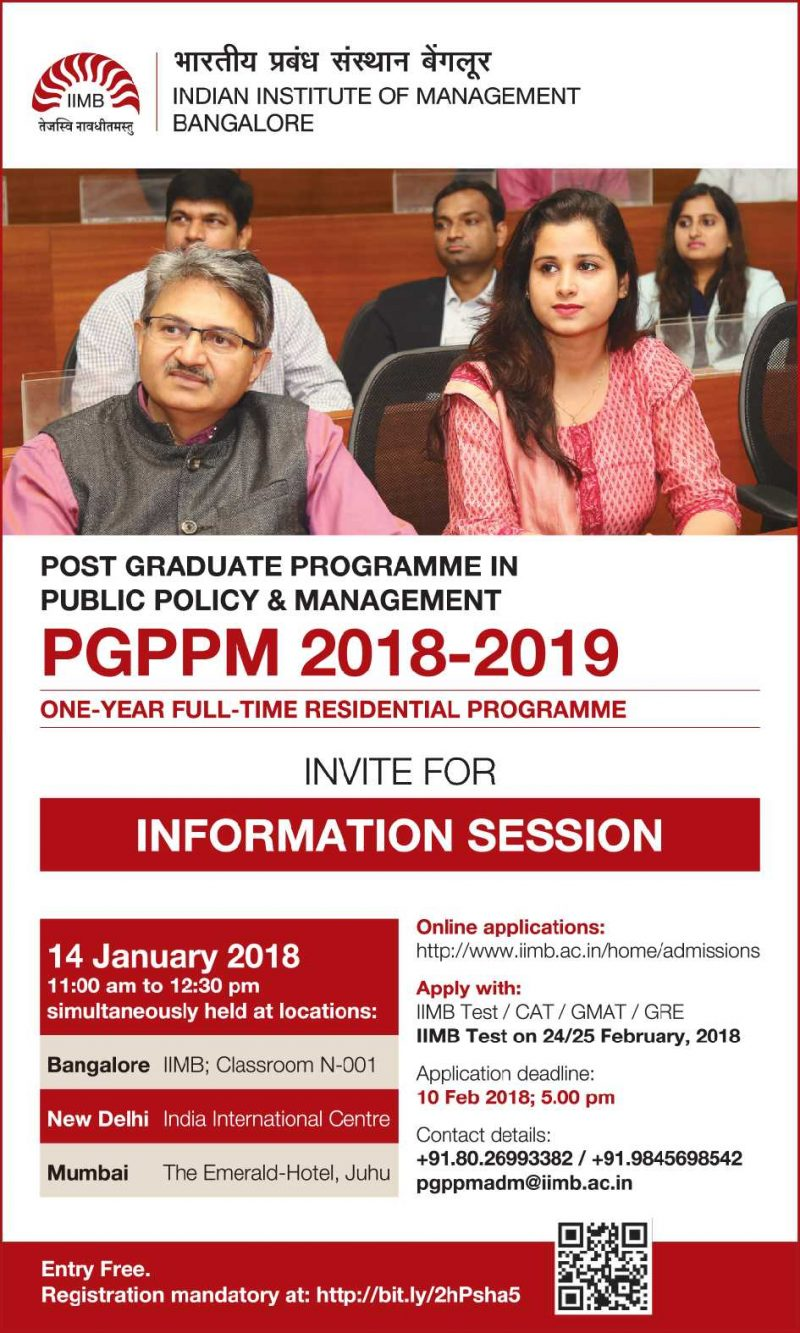 Indian Institute Of Management Bangalore Invite For Information Session Ad