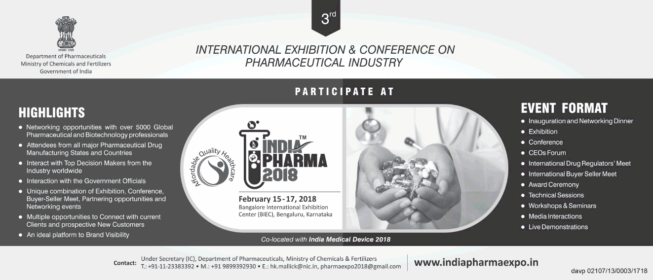 International Exhibition And Conference On Pharmaceutical Industry Participate At India Pharma 2018 Ad