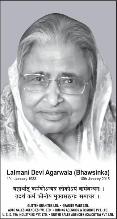 Lalmani Devi Agarwala Obituary Ad