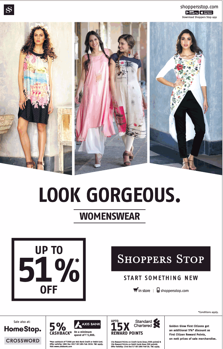 Look Gorgeous Womenswear Shopperstop Upto 51% Off Ad