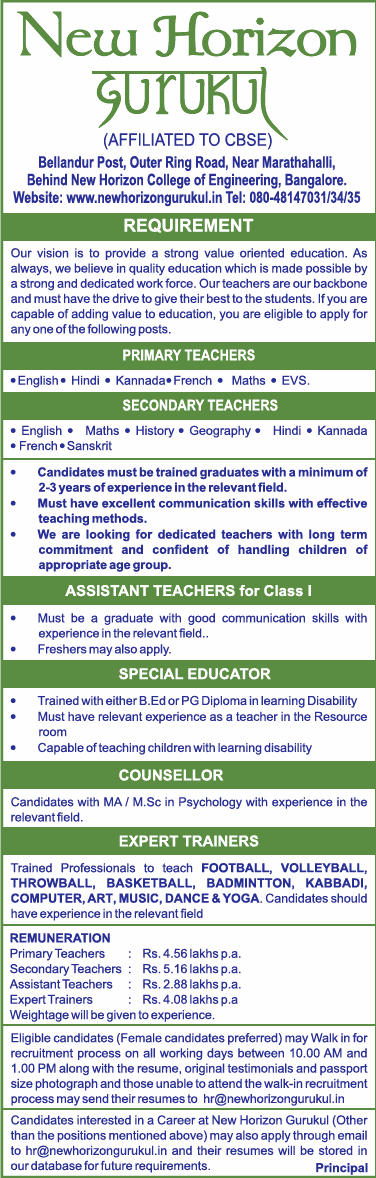 New Horizon Gurukul Invites Applications For Teachers Ad