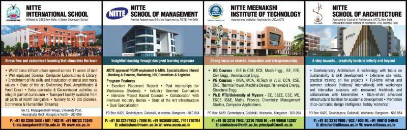 Nitte International School  Nitte School Of Management Ad