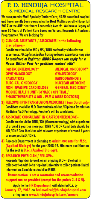 P D Hindua Hospital And Medical Research Centre Requires Clinical Assistants Ad