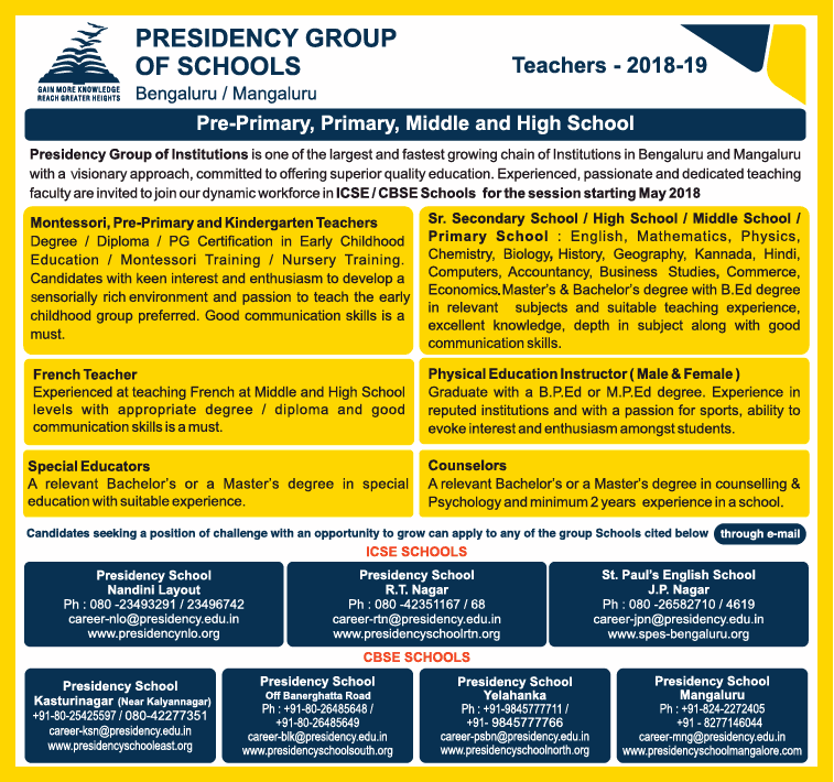 Presidency Group Of Schools Invites Applications For Teachers Ad