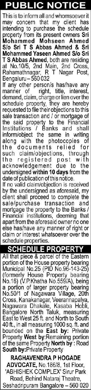 Public Notice Raghavendra P Hogade Advocate Ad