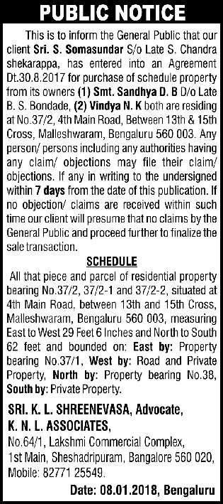 Public Notice Sri K L Shreenevasa Advocate K N L Associates Ad
