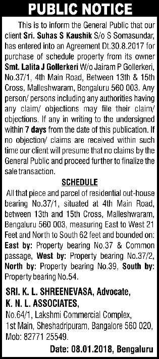 Public Notice Sri K L Shreenevasa Advocate K N L Associates Bangalore Ad