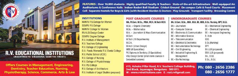R V Educational Institutions Post Graduate Courses Undergraduate Courses Ad