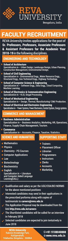 Reva University Invites Applications For Senior Professors And Professors Ad