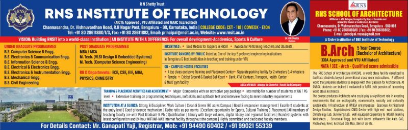Rns Institute Of Technology Ad