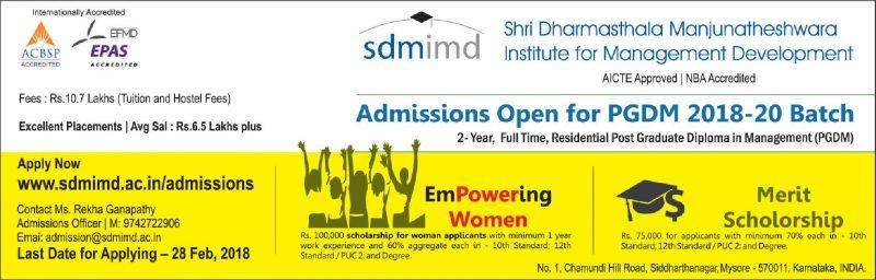 Shri Dharmasthala Manjunatheshwara Institute For Management Development Admissions Open Ad