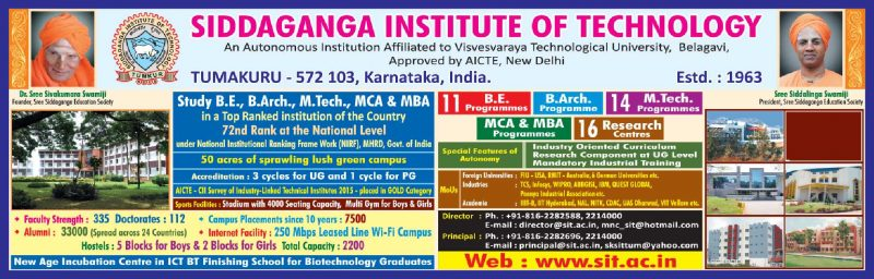 Siddaganga Institute Of Technology Ad