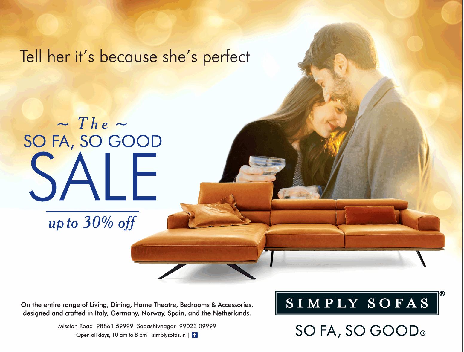 Simply Sofas So Fa Good Upto 30 Off Ad