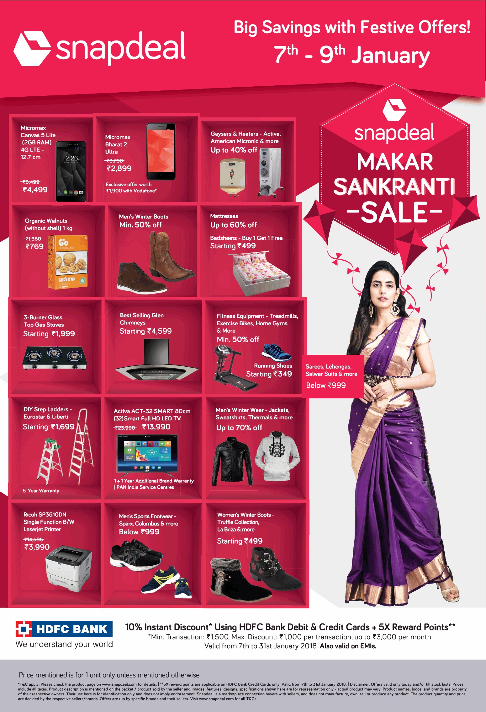 55c5a5396d5 Snapdeal Big Savings With Festive Offers 7Th January To 9Th January ...