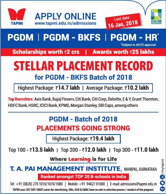 Tapmi Apply Online Pgdm Pgdm Bkfs Scholarship Worth Rs 2 Crores Ad
