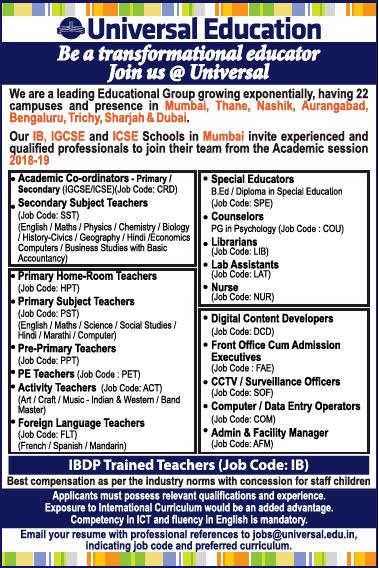 Universal Education Invites Applications For Academic Co Ordinators Ad