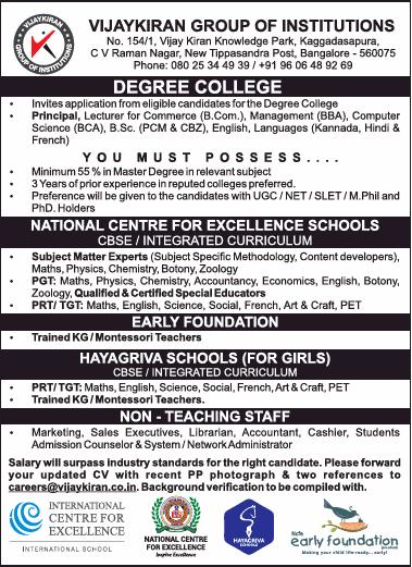 Vijaykiran Group Of Institutions Invites Applications For Principal Ad