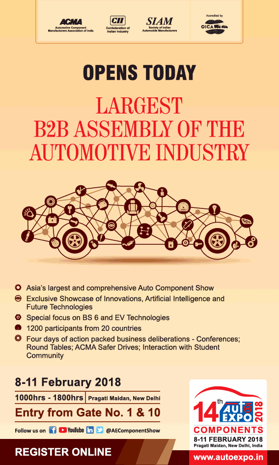 14Th Auto Expo Components 8Th To To 11Th Feb Largest B2B