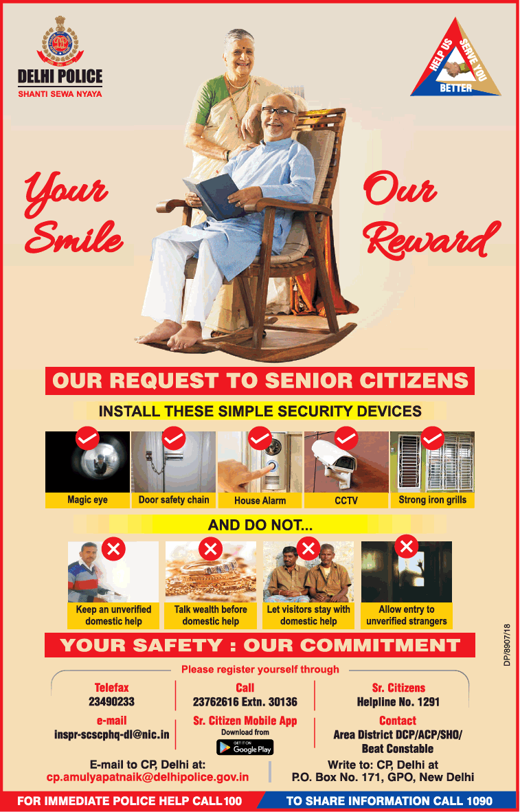 Delhi Police Your Smileour Reward Our Request To Senior Citizens Install These Simple Security Devices Ad