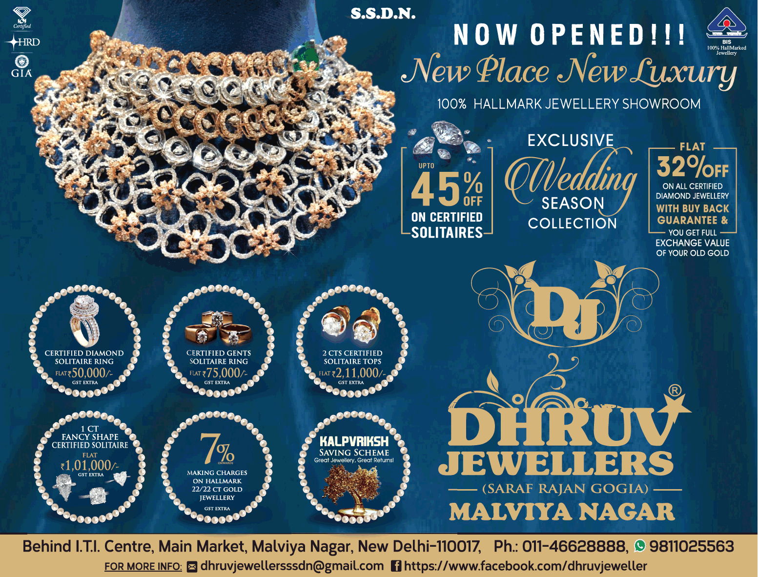 Dhruv Jewellers Now Opened New Place New Luxury 45% Off On Certified Solitaires Ad