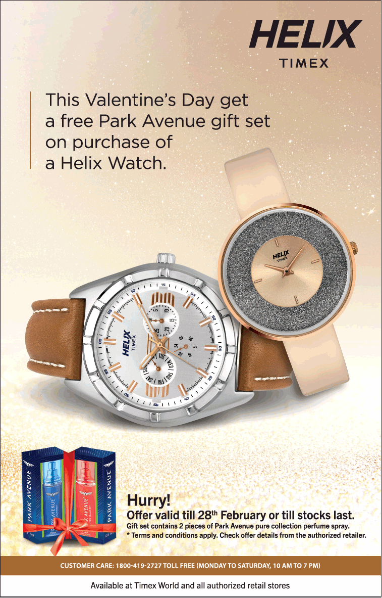 b3a8a04fb Helix Timex Watches This Valentines Day Get A Free Park Avenue Gift Set On  Purchase Of Helix Watch Ad