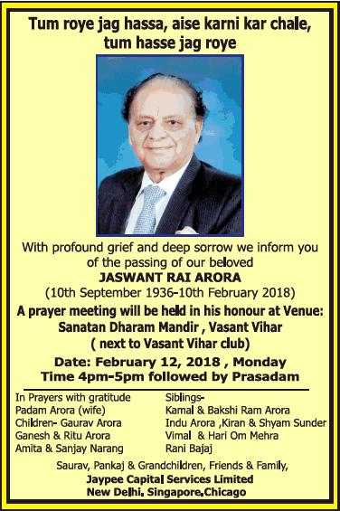 Jaswant Rai Arora Obituary Ad