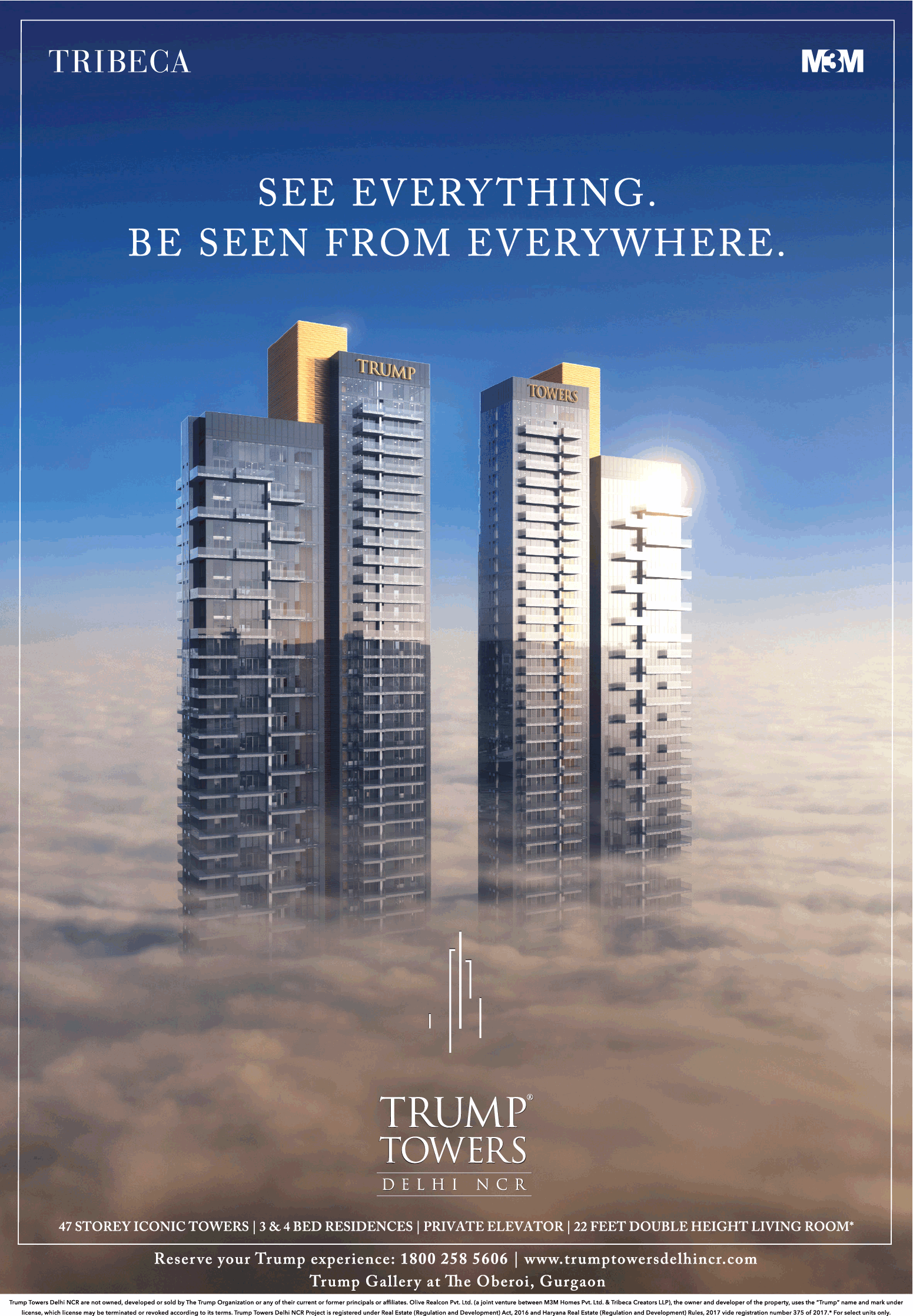 m3m tribega trump towers see everything be seen from